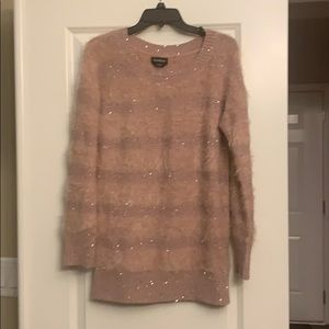Bebe mauve sequined/fuzzy sweater M